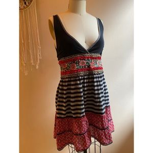 Free People Woodland Striped and Mini Floral Dress